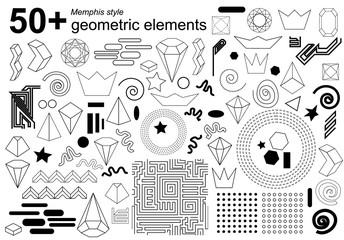 Big set of geometric elements for Memphis style design.