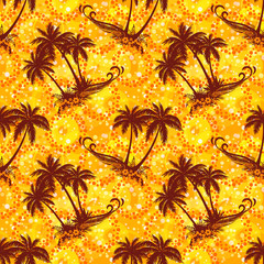 Exotic Seamless Pattern, Tropical Landscape, Palms Trees Silhouettes on Abstract Tile Background with Rings and Flowers. Eps10, Contains Transparencies. Vector