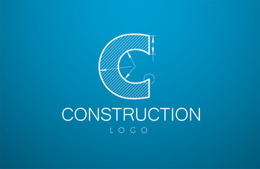 logo template letter C  in the style of a technical drawing.