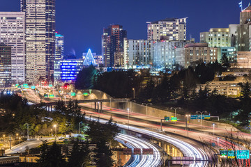 seatte city scape with freeway at night,Washington,usa.