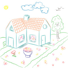 Colorful Hand Drawn Country House in Doodle Style. Children Drawings of House with Flowerbed and Birch. Vector Illustration