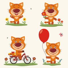 Vector set funny  plays in the meadow. Collection isolated  on bicycle, with balloon and flower in cartoon style.
