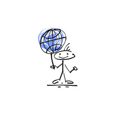 hand drawing sketch human smile stick figure globe sign