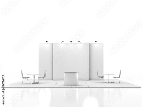 Exhibition Stand Template : Blank creative exhibition stand design with color shapes booth