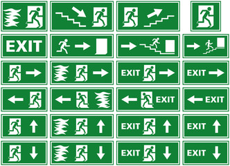 vector illustration symbol set of fire alarm plates / emergency exit signs. White silhouettes on green background of a person / man running away from flames towards an exit door on a fire emergency.