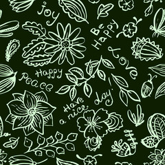 Vector floral seamless pattern with butterfly and dragonfly in doodle style