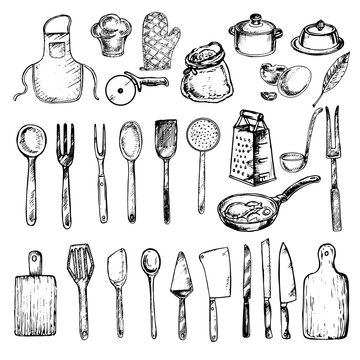 hand drawn set cooking