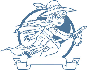 cute little witch flying on her broomstick