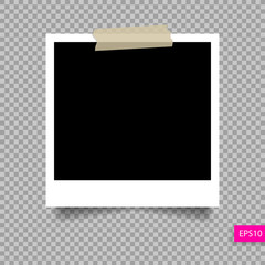 polaroid photo frame  template on sticky tape pin