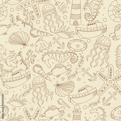 Annabella 67 Art Line Design : Quot sea line art design vector illustration seamless retro