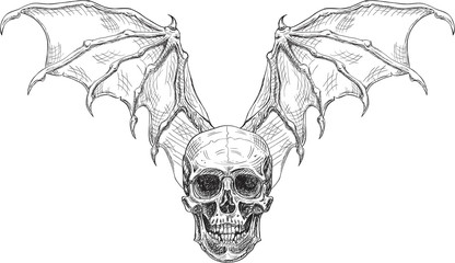 Skull and devil wings
