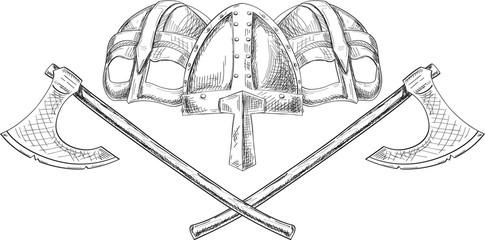 Viking helmets and axes