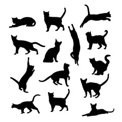 Vector silhouettes of cats on a white background