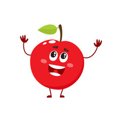 Cure and funny red apple character, mascot, decoration element, cartoon vector illustration isolated on white background. Red apple funny character, concept of health care for kids