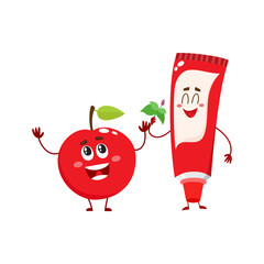 Cute and funny toothpaste and red apple character, dental care concept, cartoon vector illustration isolated on white background. Toothpaste, apple characters, teeth health, dental care, good habits