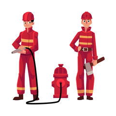 Firefighter, fireman in red protective suit holding fire hose and axe, cartoon vector illustration isolated on white background. Full length portrait of two firefighters, firemen at work