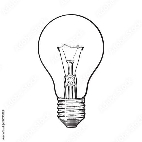 Traditional Transparent Tungsten Light Bulb Side View Sketch Style