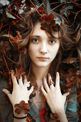 True autumn. Stunning young woman with eyes like ocean