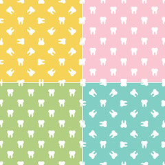 Set, collection of colorful flat design minimalistic teeth, dental seamless pattern background.