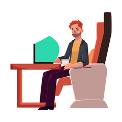 Young unshaved man working on his laptop in business class airplane seat, cartoon vector illustration on white background. Male passenger, young man seating in airplane business class with laptop