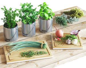Spezie aromatiche in barattoli e taglieri