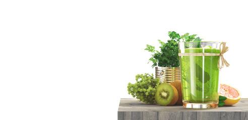 Succo di verdura e frutta verde sano e biologico