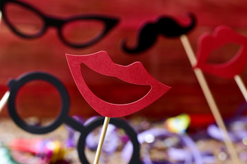 mouths, eyeglasses and mustaches