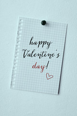 text happy valentines day in a note