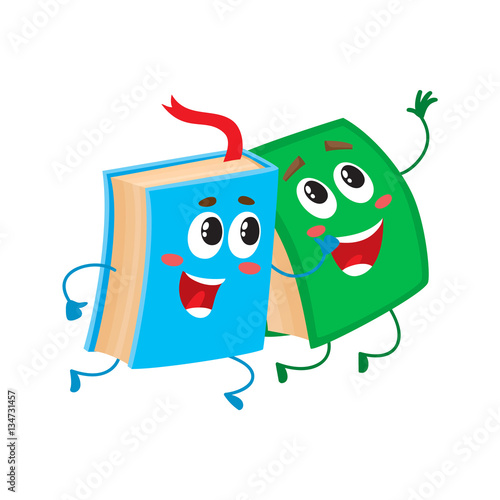 3 Cartoon Characters Always Together : Quot two funny book characters running happily together