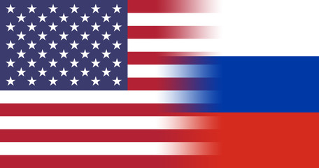 US flag blending over into the colors of Russia, white red and blue