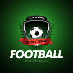 Football Soccer logo. Football badge design template, sport logotype.Themed T shirt. Isolated Vector illustration.