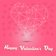 happy valentine's day and white heart polygon on pink heart background