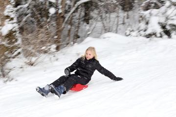 dynamische Bobfahrt im Winter