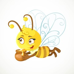 Cute bee flies with clay pot full of honey isolated on a white b