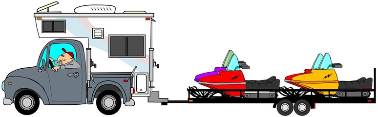 Illustration of a man driving a truck and camper pulling a trailer with 4 snowmobiles.