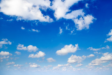 White clouds and blue sky.