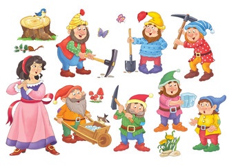 Snow White and the seven dwarfs. Fairy tale. Illustration for children. Cute and funny cartoon characters Fotomurales