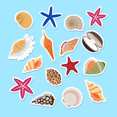 Sea shells cute stickers, vector set on light blue background
