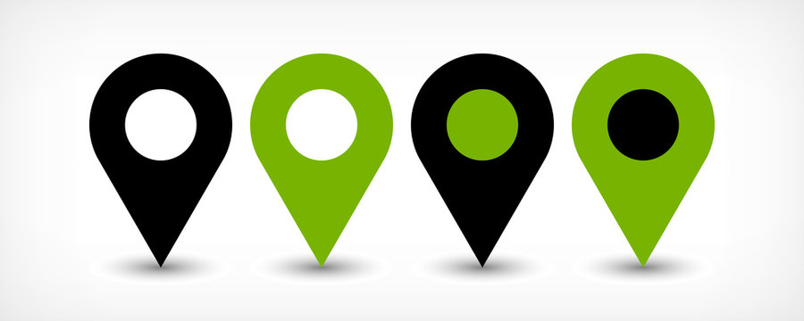 Green flat map pin sign location icon with shadow