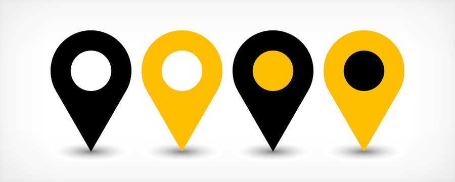 Yellow flat map pin sign location icon with shadow