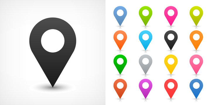 Color map pin sign location icon in flat style