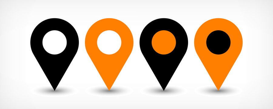 Orange flat map pin sign location icon with shadow