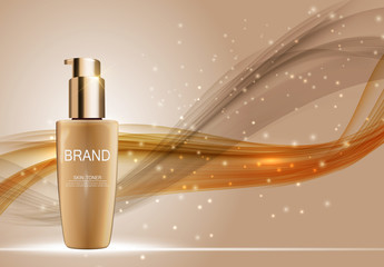 Skin Toner Bottle Tube Template for Ads or Magazine Background.