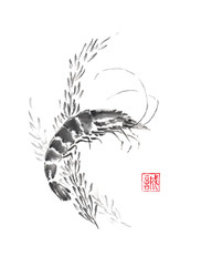 Shrimp and weed Japanese style original sumi-e ink painting.