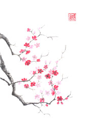 Japanese style sumi-e pink plum blossom ink painting.