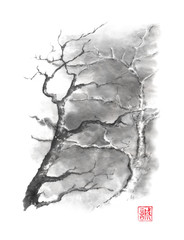 Two trees Japanese style original sumi-e ink painting.