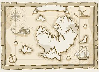 Vintage parchment vector brown map