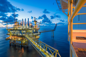 Oil and gas central processing platform in the gulf of Thailand shooting accommodation platform
