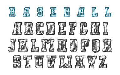 Decorative serif font in the style of hand-drawn graphics