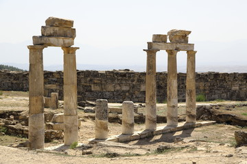 The ruins of the ancient city of Hierapolis in Turkey